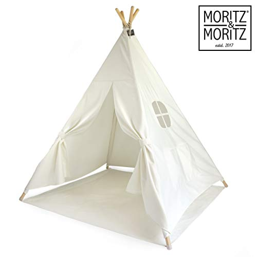 Moritz & Moritz Tipi Zelt für Kinder - weiß einfarbig - Kinderzelt Spielzelt...