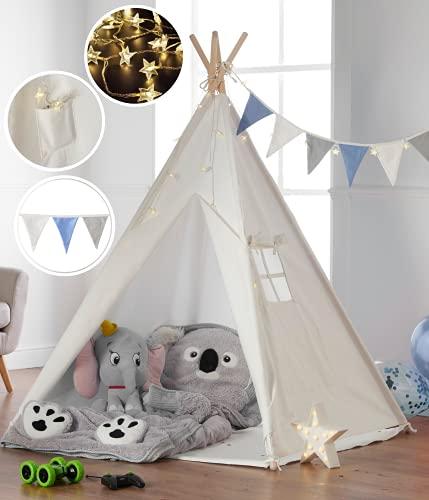 Haus Projekt Tipi-Zelt für Kinder mit Lichterkette, Wimpelkette,...
