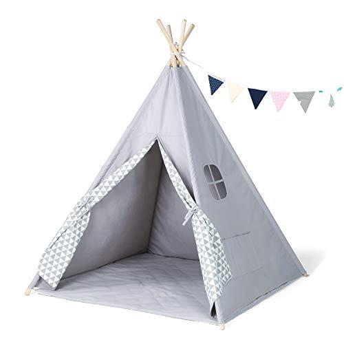 GIGALUMI Tipi Zelt mit Decke Fenster und Girlande Spielzelt Kinderzelt grau...