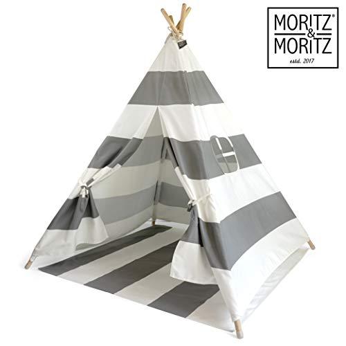 Moritz & Moritz Tipi Zelt für Kinder - Grau Gestreift - Kinderzelt Spielzelt...
