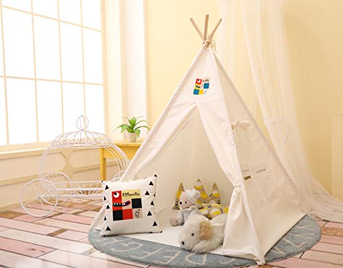 Elflandis Tipi Spielzelt für Kinder mit Matte & Aufbewahrungs- Tasche & Box...
