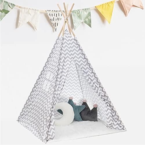 KNECKES Premium Tipi Zelt für Kinder (110 x 110 x 170cm / für 1-3 Kinder),...
