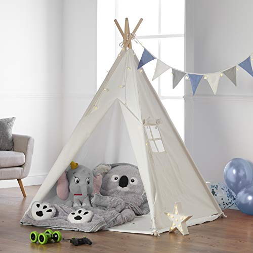 Haus Projekt Tipi Zelt Set Kinder mit Zubehör, Lichterkette, Wimpelkette,...
