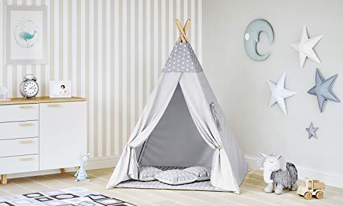 MALATEC Tipi Zelt für Kinder Spielzelt Indianer Baumwolle 3 Kissen Kinderzelt...