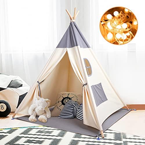 Kinderzelt Spielzelt Tipi Zelt Teepee für Kinder aus 100% Baumwolle + graue...