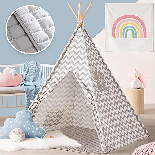 Tipi Zelt für Kinder - Kinderzimmer Spielzelt - drinnen draußen Segeltuch...
