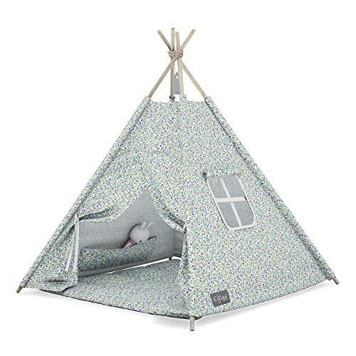 Elfique Efique Kinderzelt Spielzelt Gartenzelt Tipi Zelt für Kinder grau-grün