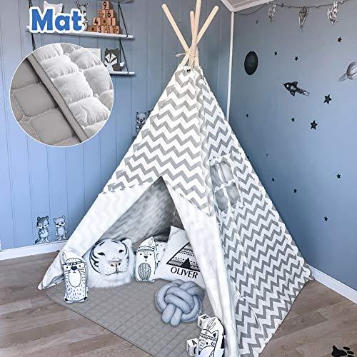 Tiny Land Tipi Spielzelt für Kinder Kinderzimmer mit Gepolsterter Decke-...