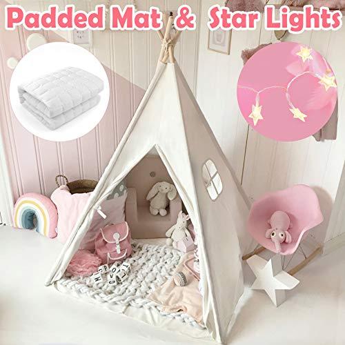 Tiny Land Tipi Spielzelt für Kinder mit gepolsterter Matte & Lichterkette &...