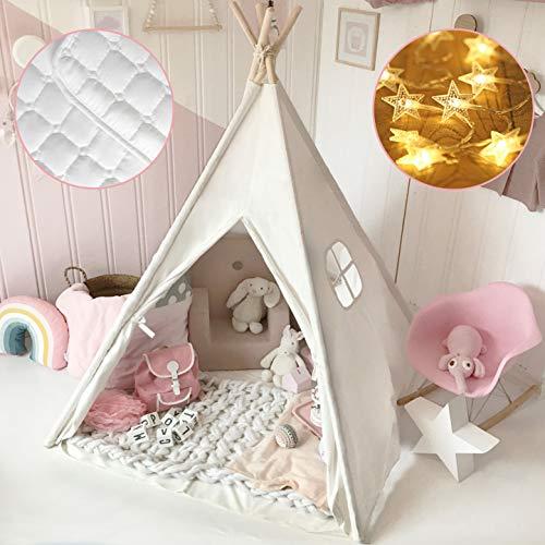 Tiny Land Tipi Spielzelt für Kinder mit Matte & Lichterkette &...