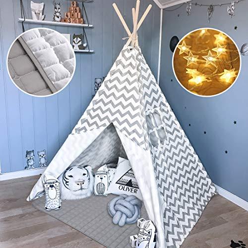 Tiny Land Tipi Spielzelt für Kinder Kinderzimmer mit Gepolsterter Decke &...